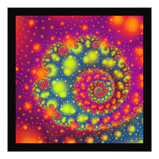 Psychedelic Spiral Neon Decorative Abstract Art Photographic Print