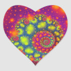 Psychedelic Spiral Neon Decorative Abstract Heart Heart Sticker