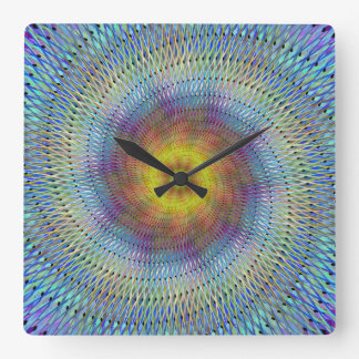 Psychedelic spiral square wall clock