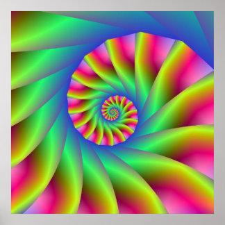 Psychedelic Spiral Steps Poster