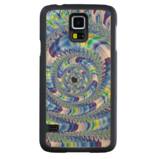 Psychedelic Spiral Swirl Blue Yellow White Fractal Carved® Maple Galaxy S5 Slim Case