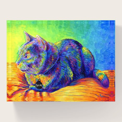 Psychedelic Spirit Rainbow Cat Glass Paperweight