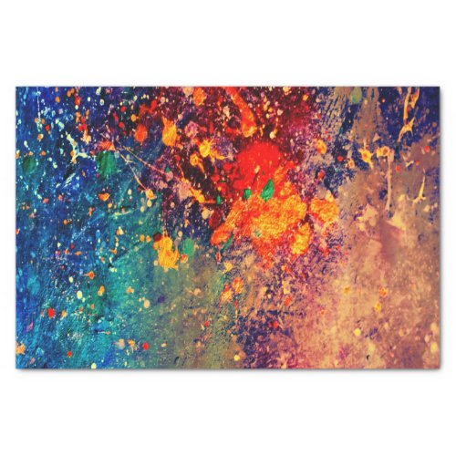 Psychedelic Splatter  Colorful Rainbow Abstract Tissue Paper