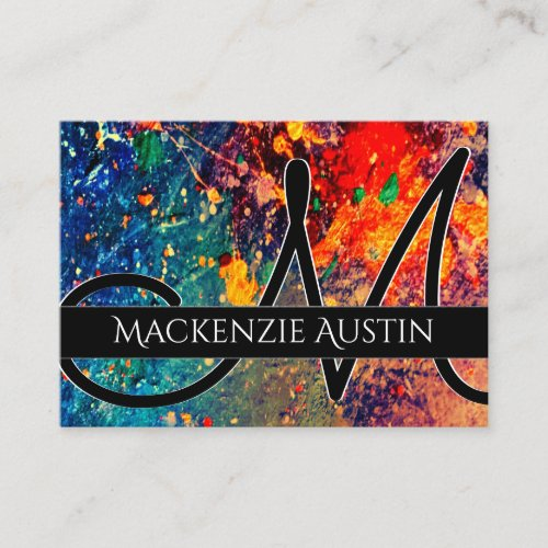 Psychedelic Splatter  Rainbow Abstract Monogram Business Card