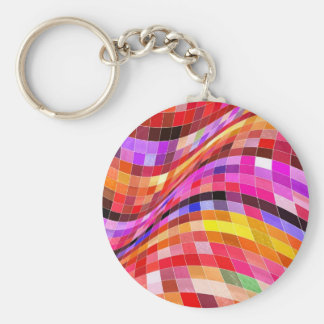 Psychedelic Square Pattern Basic Round Button Keychain