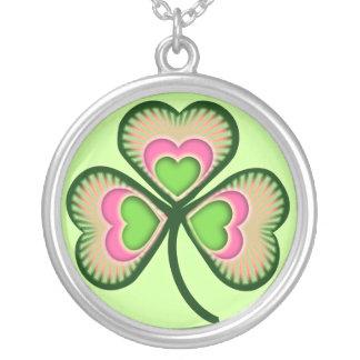 Psychedelic St Patricks Day Shamrock Round Pendant Necklace