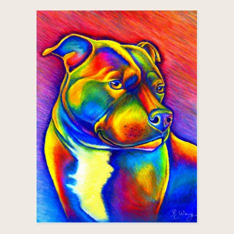 Psychedelic Staffordshire Bull Terrier Postcard