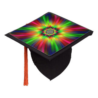 Psychedelic Star Burst Graduation Cap Topper