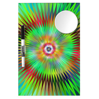 Psychedelic Starburst Fractal Dry Erase Board With Mirror
