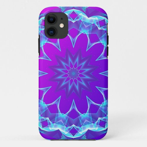 Psychedelic Stars, Abstract Violet Purple Glow iPhone 11 Case