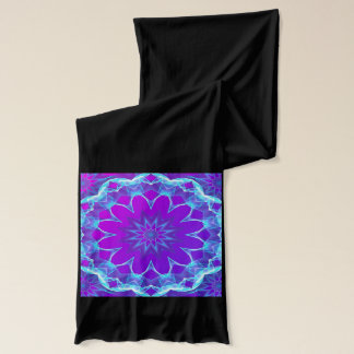 Psychedelic Stars, Abstract Violet Purple Glow Scarf