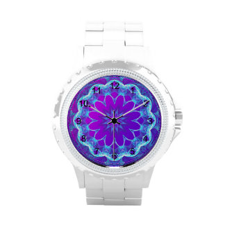 Psychedelic Stars, Abstract Violet Purple Glow Wristwatch