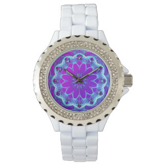 Psychedelic Stars, Abstract Violet Purple Glow Wristwatches