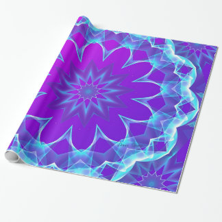 Psychedelic Stars, Abstract Violet Purple Glow Wrapping Paper