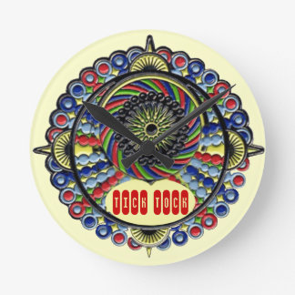 Psychedelic steampunk mandala round clock