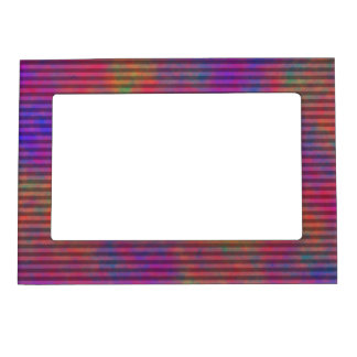 Psychedelic Stripes - Colorful Striped Abstract Magnetic Photo Frame