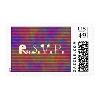Psychedelic Stripes - Colorful Striped Abstract Postage Stamp