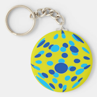 Psychedelic-Style Basic Round Button Keychain