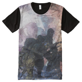 Psychedelic Stylized Abstract Marching Soldiers All-Over Print Shirt