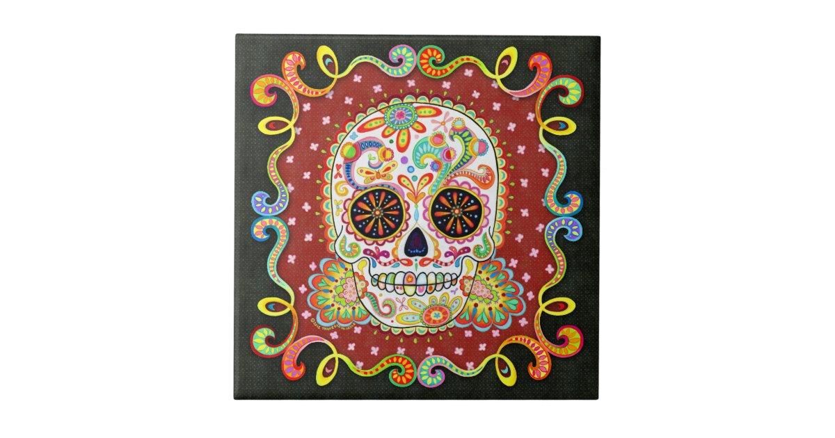 Psychedelic Sugar Skull Ceramic Tile Zazzle