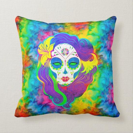 [Psychedelic Sugar Skull] Fractal Tie-Dye Calavera Throw Pillow