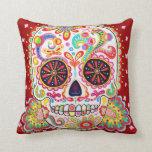 Psychedelic Sugar Skull Pillow