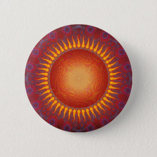 Psychedelic Sun: Spiral Fractal Design Pinback Button