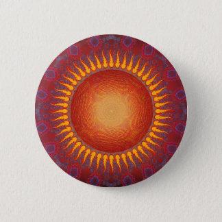 Psychedelic Sun: Spiral Fractal Design Pinback Button