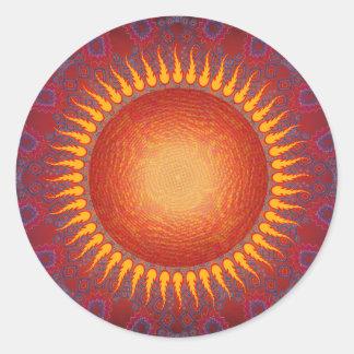 Psychedelic Sun: Spiral Fractal Design Classic Round Sticker