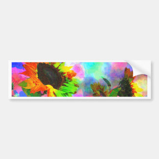Psychedelic Sunflower Bumper Stickers