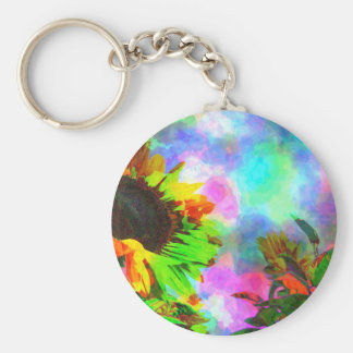Psychedelic Sunflower Key Chain