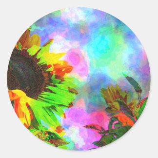 Psychedelic Sunflower Round Sticker