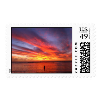 Psychedelic Sunset postage stamp