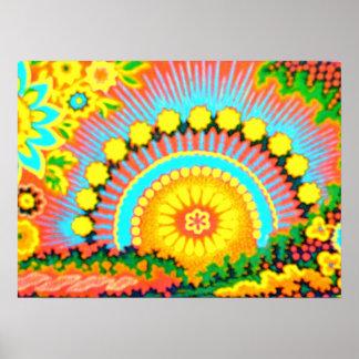 Psychedelic Sunset Vintage 60's Pop Art Poster
