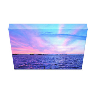 Psychedelic sunset with groovy colors canvas print