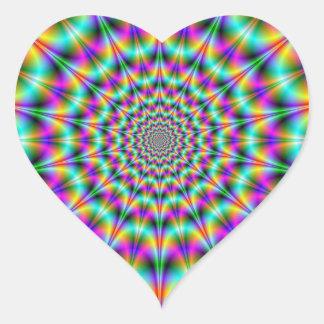 Psychedelic Supernova  Heart Sticker