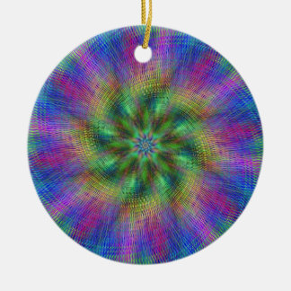 Psychedelic Swirl Double-Sided Ceramic Round Christmas Ornament