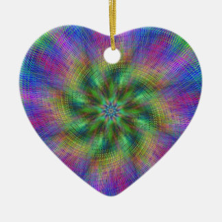 Psychedelic Swirl Double-Sided Heart Ceramic Christmas Ornament