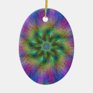 Psychedelic Swirl Double-Sided Oval Ceramic Christmas Ornament