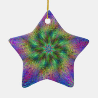 Psychedelic Swirl Double-Sided Star Ceramic Christmas Ornament