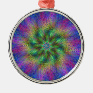 Psychedelic Swirl Round Metal Christmas Ornament