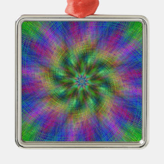 Psychedelic Swirl Square Metal Christmas Ornament