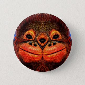 Psychedelic Three Eyed Monkey Button