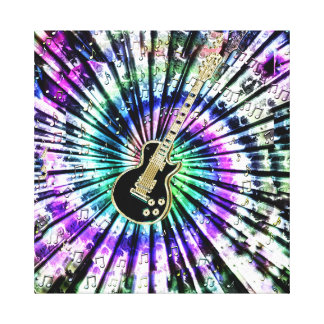 Psychedelic Tie-Dye Guitar Canvas Canvas Prints