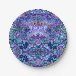 Psychedelic Tie-Dye Marble Purple Pattern Paper Plate