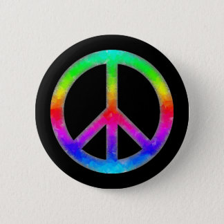 Psychedelic Tie-Dye Peace Sign Button