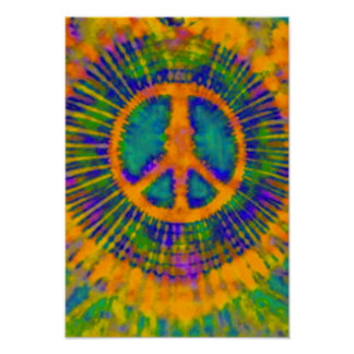Psychedelic Tie-Dye Peace Sign Fine Art Poster