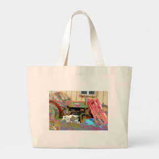 Psychedelic Tractor Large Tote Bag