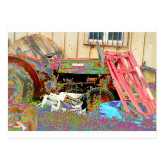 Psychedelic Tractor Postcard