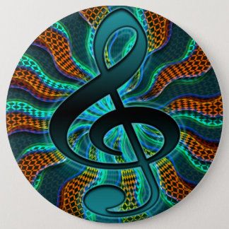 Psychedelic Treble Clef / G Clef Music Symbol Button